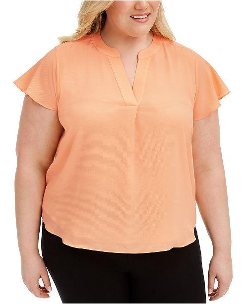Calvin Klein Plus Size Cap-Sleeve Blouse