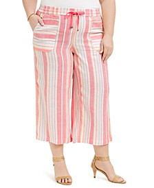 Plus Size Multi-Stripe Linen Pants, Created for Macy's
