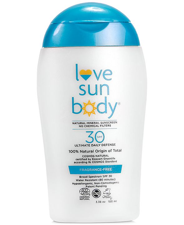 Love Sun Body Natural Origin Mineral Sunscreen SPF 30 - Fragrance Free, 3.38-oz.
