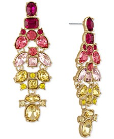 Gold-Tone Multicolor Crystal Cluster Drop Earrings