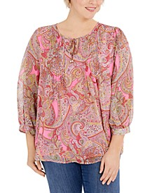Plus Size Paisley-Print Pintuck Top, Created for Macy's