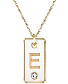 "Gold-Tone Initial White Tag Pendant Necklace, 24"" + 2"" extender"