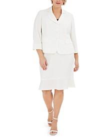 Plus Size Three-Button Skirt Suit