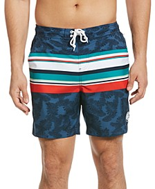 "Men's Engineered Stripe with Leaf Print 6"" Swim Shorts"
