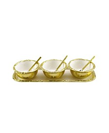 Enamel Rectangular Tray with Round Bowls and Spoons