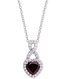 "Rhodolite Garnet (1-1/3 ct. t.w) & Cubic Zirconia Heart 18"" Pendant Necklace in Sterling Silver"