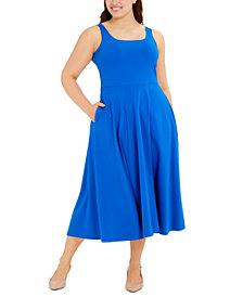 Alfani Plus Size Sleeveless Fit & Flare Midi Dress, Created for Macy's