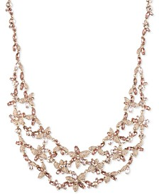 "Crystal Floral Bib Necklace, 16"" + 3"" extender"