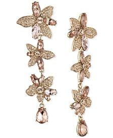 Crystal Flower Linear Earrings
