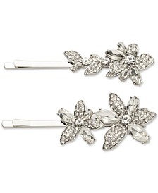 Silver-Tone 2-Pc. Set Crystal Flower Bobby Pins