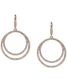 Pavé Double-Row Circle Drop Earrings