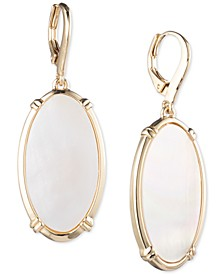 Gold-Tone Mother-Of-Pearl Oval Drop Earrings