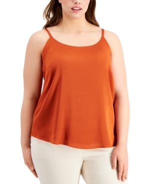 Bar Iii Tops TRENDY PLUS SIZE SOLID CAMI, CREATED FOR MACY'S