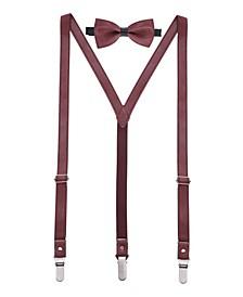 Men's Suede Leather Suspenders Bow Tie Set