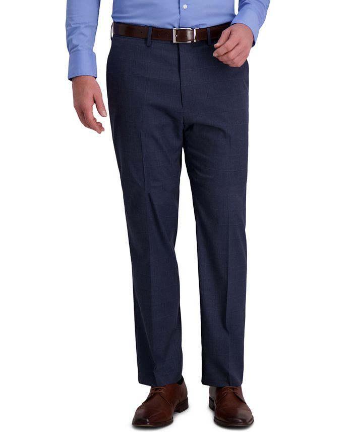 Haggar - Men's Classic-Fit 4-Way Stretch Windowpane Sharkskin Performance Dress Pants