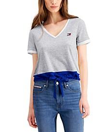 Colorblocked Drawstring-Hem T-Shirt