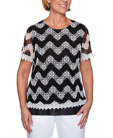 Checkmate Chevron Lace Knit Top