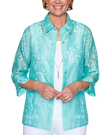 Spring Lake Burnout-Pattern Layered-Look Top