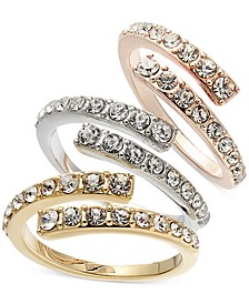INC Tri-Tone 3-Pc. Set Crystal Bypass Stackable Rings, Created for Macy's