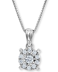 """Diamond Cluster 18"""" Pendant Necklace (1/5 ct. t.w.) in 10k White Gold"""