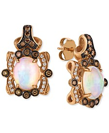 Neopolitan Opal (1-3/4 ct. t.w.) & Diamond (1/2 ct. t.w.) Drop Earrings in 14k Rose Gold