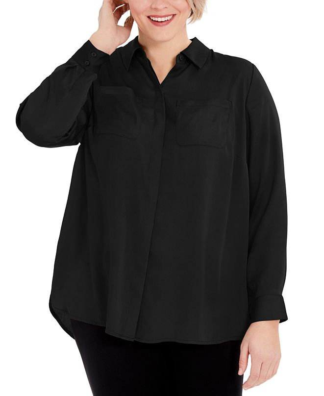 INC International Concepts INC Plus Size Solid Charm Shirt, Created for Macy's