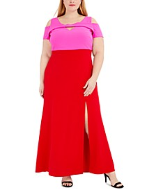 Plus Size Colorblocked Cold-Shoulder Gown
