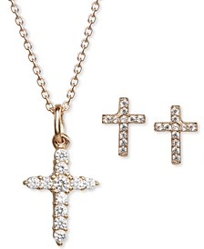 Children's 2-Pc. Set Cubic Zirconia Cross Pendant Necklace & Matching Stud Earrings Set in 14k Gold-Plated Sterling Silver