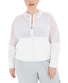 Plus Size Zip-Up Mesh Hoodie, Created for Macy's