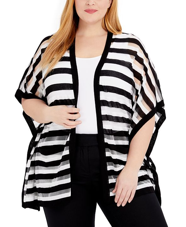 Belldini Plus Size Sheer-Stripe Cardigan
