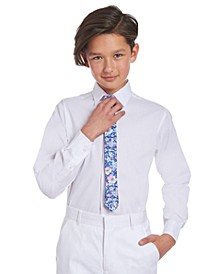 Big Boys 2-Pc. Stretch Solid Dress Shirt & Floral-Print Tie Set