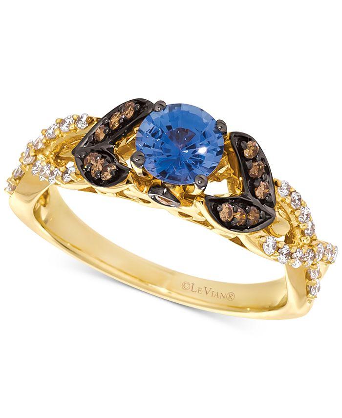 Le Vian - Cornflower Ceylon Sapphire (5/8 ct. t.w.) & Diamond (1/3 ct. t.w.) Ring in 14k Gold