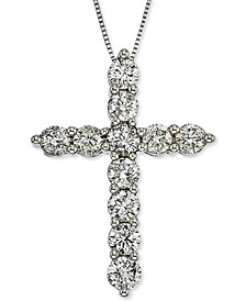 "Diamond Cross 18"" Pendant Necklace (2 ct. t.w.) in 14k White Gold"