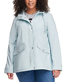 Trendy Plus Size Hooded Lightweight Rain Jacket