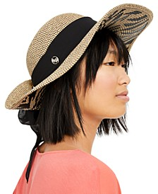 Printed Floppy Hat with Scarf