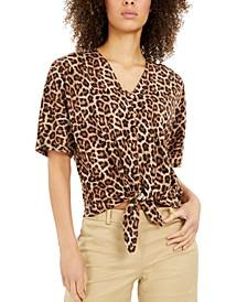 Leopard-Print Tie-Hem Top
