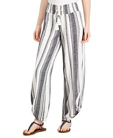 Juniors' Striped Wide-Leg Pants