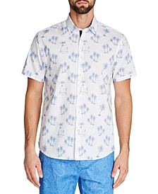 Men's Slim-Fit Palm Tree Short-Sleeve Button-Down Shirt