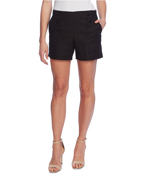 Vince Camuto Double-Weave Button-Front Shorts