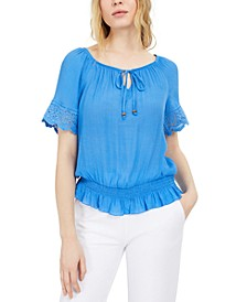 Juniors' Tie-Front Peasant Top