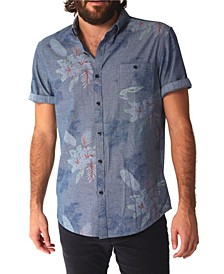 Men's Chambray Floral All Over Print Buttondown Shirt