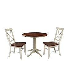 """36"""" Round Extension Dining Table with 2 Back Chairs"""