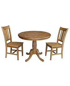 """36"""" Round Top Pedestal Ext Table with 12"""" Leaf and 2 Rta Chairs"""