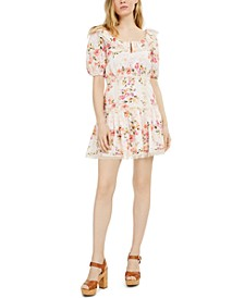 Martina Printed Cotton Eyelet Dress