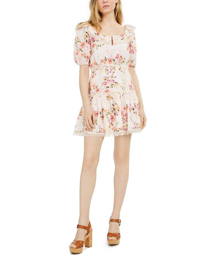 GUESS - Martina Printed Cotton Eyelet Dress