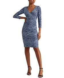 Petite Print Jersey Surplice Dress