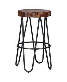 Pembra Backless Bar Height Stool with Wood Seat