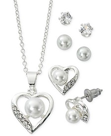 "Fine Silver Plate Cubic Zirconia Heart Necklace and Stud Earring Set, 18"" + 3"" extender"