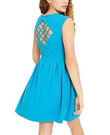 Juniors' Lattice-Back Fit & Flare Dress