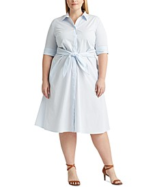 Plus-Size Pinstripe Cotton Shirtdress